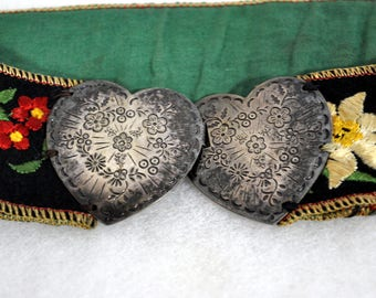 Vintage Fabric Embroidered Belt - Silver Double Heart Buckle -