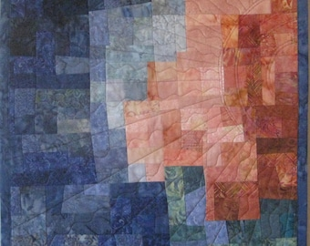 Art Quilt Mosaic Peach Blue Sun, Quilted Wall Hanging, Abstract, Modern quilt