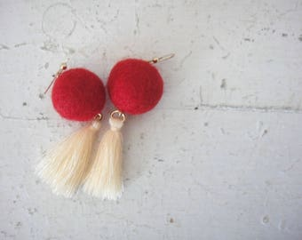 Color Pop Mod Earrings, Red and Ivory, Tassels and Felted Wool Beads, on 18K Gold Fill Earrings