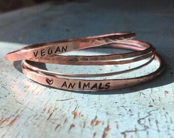 5 VEGAN COPPER & SILVER Bangles~ Love Animals~ Bangle Bracelets~ Copper Bangles~ Sterling Silver Bangle~ Stacking Bangles~ Gift for Vegan