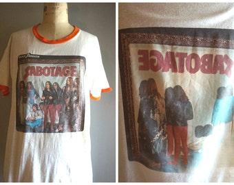 Rare Original 70s/80s Black Sabbath Sabotage Iron On Ringer T Shirt