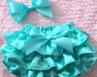 Satin ruffled Bloomers, diaper cover, panty cover
