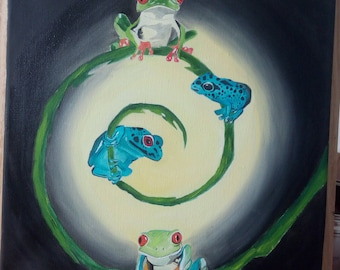"""Original painting oil on canvas """"frogs"""""""