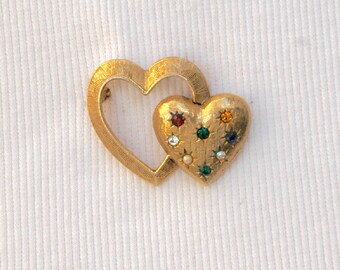 Emmons Double Heart Brooch Vintage