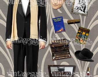 F SCOTT FITZGERALD Digital Paper Doll Collage Sheet digital download FLAPPER Art Deco