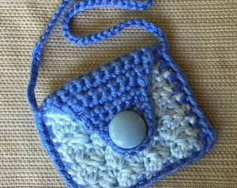 Crochet Doll Purse, American Girl Doll Purse, 18 inch Doll Accessory, Handmade Doll Bag, Gift for Girl, Blue Doll Purse, Blue Button Purse