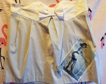 Cute short skirt with pin up girl and bow detail one off wearable art handmade one off