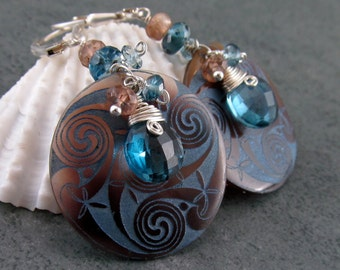 Etched shell earrings with London blue topaz and sterling silver-OOAK Celtic Lore earrings