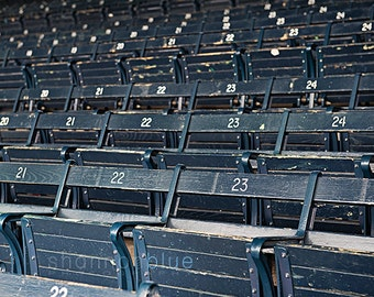 baseball photograph / grandstand, wooden seat, blue seat, boston, baseball / grandstand / 8x10 fine art photo