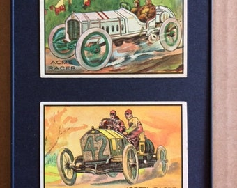 "Framed Vintage 1953 Bowman Antique Autos Trading Cards - 5"" x 7"""