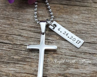Baptism Date - Men's Cross Necklace - Boys Confirmation Gift - Personalized Date - Silver Cross Jewelry - Baptism Gift - Communion