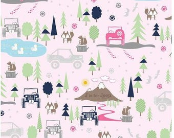 New!!  Riley Blake J is for Jeep Pink Flannel Fabric