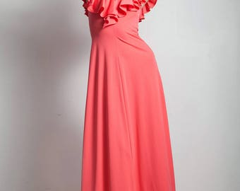 vintage 70s maxi dress a-line ruffle pink flamenco inspired ankle length SMALL MEDIUM S M