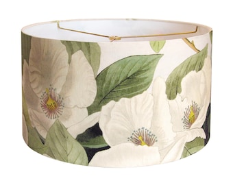 MEDIUM Linen White Blossom Lamp Shade - Moss and Cream Botanical Lampshade - 10 11 12 Inch Drum Lamp Shade - Custom Made-to-Order Lamp Shade