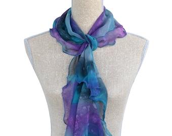 Chiffon Silk Fashion Scarf with Ruffles -- Blue + Purple + Grey -- 100% Hand-Painted Silk -- Made in Canada