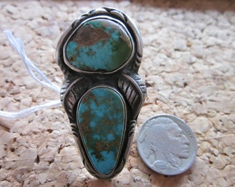 Native American Two Stone Turquoise Ring