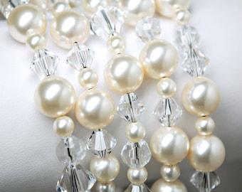 Bracelet de mariée, mariage Bracelet en cristal, 5 brin Ivoire Perle Bracelet de mariée, Bracelet manchette, bijoux de mariage, bijoux de demoiselles d'honneur
