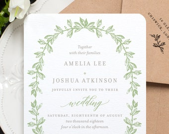Botanical Wedding Invitation / 'Vintage Wreath' Rustic Garden Premium Wedding Invite / Sage Green Grey Gray / Or Custom Colors / ONE SAMPLE