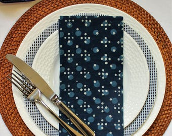 Napkins set of 4 Indian blockprint 'Spots and dots'