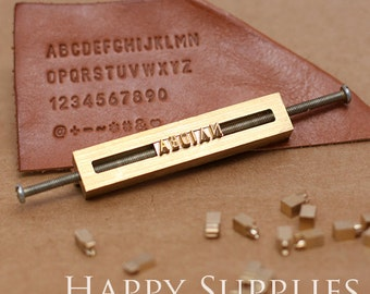 Custom Leather Stamp 26 Alphabet Stamp Brass Metal Stamp / Interchangeable Wood Brand Iron Heat Emboss w Letter T-slot Holder Soldering Iron
