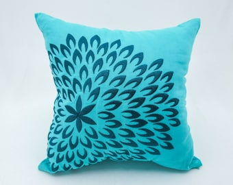 Teal pillow cover, Throw pillow covers. Embroidery pillow, floral pillow, linen pillow cover, Decorative pillow for couch, Pillow case