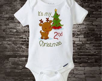 Kids Christmas Outfit - baby's second Christmas - baby Christmas Gift - Baby clothing - Personalized Gift - Christmas Pajamas 10032012b