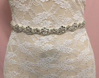 Silver Bridal Sash | Wedding Sash | Silver Bridal Belt | Wedding Belt | Rhinestone Bridal Belt | Bridal Accessories | Wedding Accessories