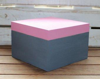 Wooden box, wooden casket, pink, grey