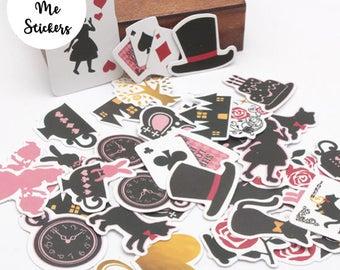 36 PCS, Alice in Wonderland stickers, Alice in Wonderland labels, Cheshire Cat, Fairytale sticker, Sticker Label, Alice in Wonderland, FK23