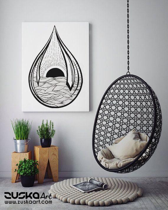 Black Sun Teardrop | Framed Canvas | Ink Tattoo style | Graphic Design | Ocean Waves | Sunrise sunset | Original artwork | ZuskaArt