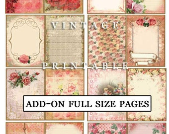 Digital Paper Pack - Add On Life Abloom - 35 Full Size Journaling pages - floral digital paper, ephemera paper pack, instant downloads