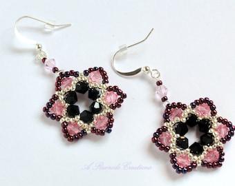 Beaded Pink Flower Earrings Seed Bead Earrings Floral Beadweave Womens Earrings Gift for Her Crystal Earrings Formal Earrings Beaded Jewelry