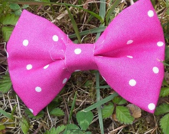 3 inch Hot Pink Polka Dots Fabric Hairbow on Alligator Clip