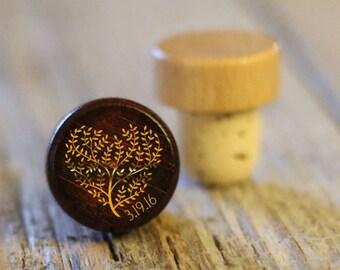 BEST PRICE ** Lot of Personalized Custom Wine Stopper, Laser Engraved Cork Bottle Topper, Reusable Rustic Wedding Favor --WS-dg-HrtTreeDate