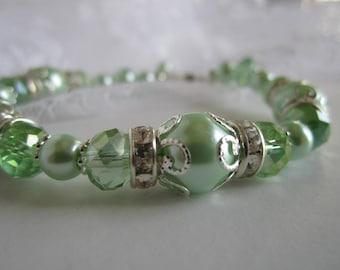 Mint Green Bridesmaid Bracelet Spring Wedding Maid of Honor Bridal Gift