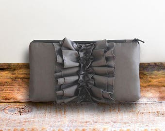 Slate Gray Wedding Clutch- Pewter Ruffle Wristlet