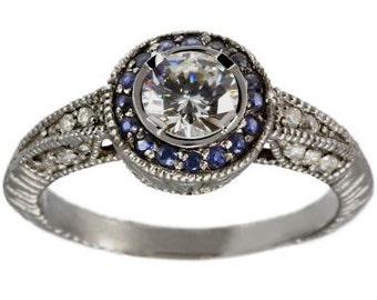 Diamond Halo Engagement Ring Vintage Ring 14K White Gold Art Deco Sapphire Halo Ring