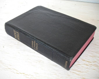 vintage holy bible - revised standard edition 1953 -  religious book - black with red edged pages - christmas - shabby chic cottage chic