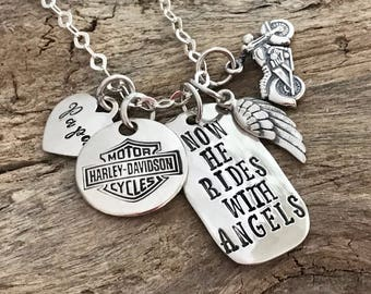 Custom Memorial with Motorcycle | Memorial Jewelry | Sympathy Gift | Remembrance Necklace |Personalized |Motorcycle Memorial with Angel wing