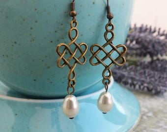 Boho earrings Chinese Knot Ivory pearls earrings Brass Drop Earrings Pearls earrings Bronze earrings