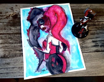 Harley Quinn Inspired 9 x 12 Fan Art, Painting, Comic Art, Painting, Harley Quinn, Batman