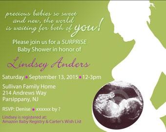 baby shower invitation, sonogram diy print invitation, baby shower diy invitation, digital file baby shower invite