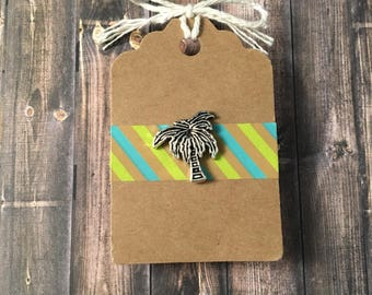Palm Tree Lapel Pin / Tie Tack - Silver Tone - Tack Backing with Clutch Clasp - Tropical Island Men's Accessories
