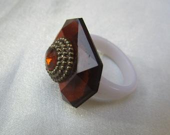 Brown imitation diamond ring