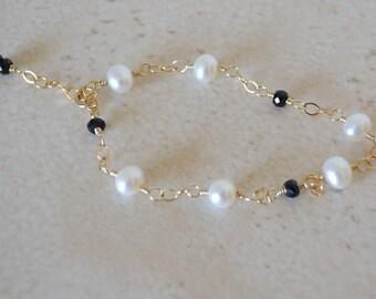 Black Spinel - Pearls - Tin Cup Style Bracelet - Gemstone Pearl Bracelet - Black And White Jewelry - Wedding Jewelry - Minimalists