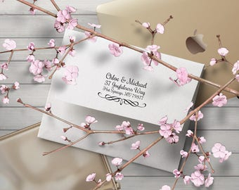 Wedding Address Stamp, Calligraphy Swirl Fancy Design Wedding Invitation Stamper, Self Inking Rubber Stamp, Save the Date, Ink, RSVP Stamp