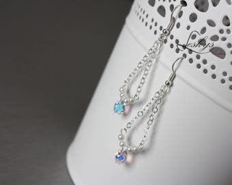 Bridal silver pendant swarovski earrings