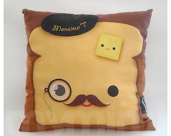 """12 x 12"""" Decorative Pillow, Toast Pillow, French Toast, Breakfast, Mustache Pillow, Cotton Pillow, Throw Pillow, Kawaii Pillow, Kids Cushion"""