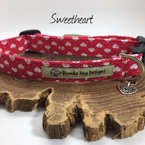Love Heart Collar, or, Love Heart Lead, Sweetheart, Red Dog Collar, Red Dog Lead, Cute Dog Collar, Luxury Dog Collar.