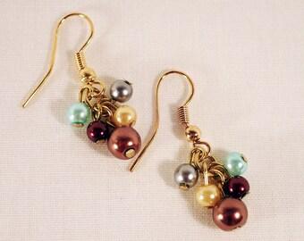 Multi color cluster earrings